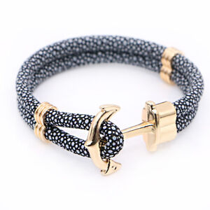 Image Is Loading Mens Multilayer Stingray Leather Wrap Rope Anchor Bangle