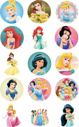 "Princess Disney Cake Toppers Pre Cut Rice Paper or Icing 15x2/"" Cupcake"