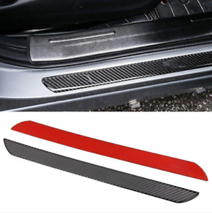 4x Car Carbon Fiber Scuff Plate Door Sill Cover Panel Step Protector Guard Kits