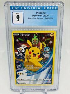 Pokemon SWSH020 Black Star Promo Pikachu MINT Graded CGC 9 (not PSA)