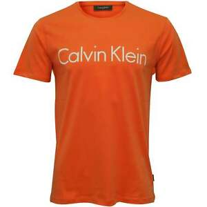 e719f553beac Calvin Klein Jasa Embossed Logo Crew-Neck Men's T-Shirt, Coral | eBay