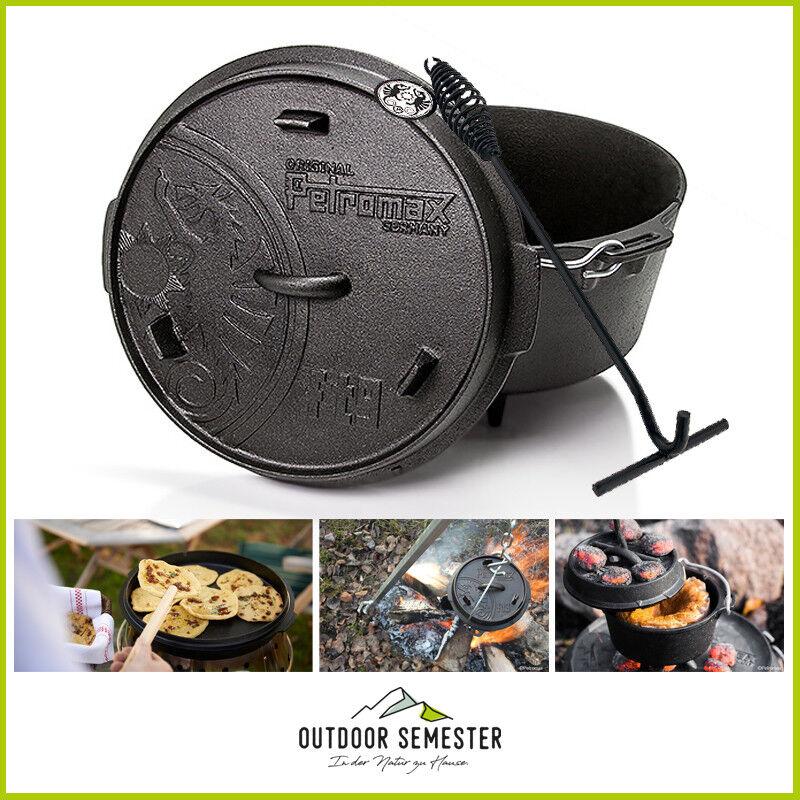 PETROMAX Dutch Oven Feuertopf Set inkl Deckelheber Gusseisern Lagerfeuer
