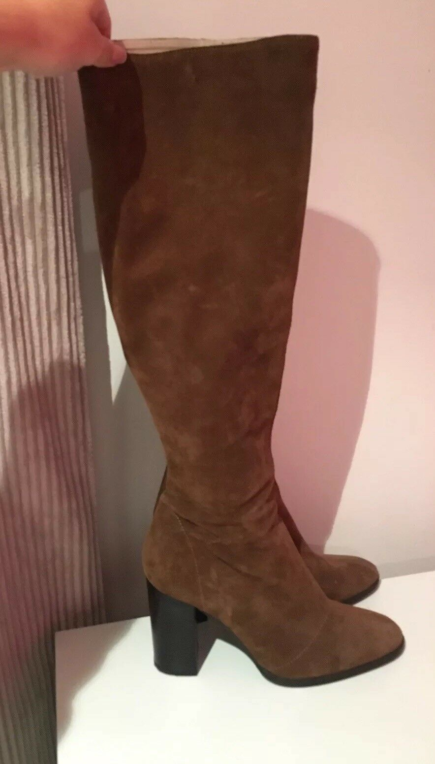 Zara Suede Suede Suede High Heeled Knee High Boots - Size 7 - Only Worn Once fdd43c