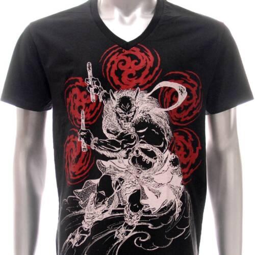 w34 Japanese Irezumi Tattoo VNECK T-shirt Devil Demon God Heaven Soft Cotton Men