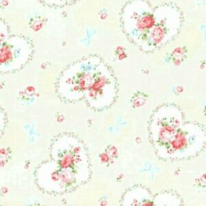 Cottage-Shabby-Chic-Lecien-Princess-Rose-Hearts-Fabric-31266L-10-Cream-BTY