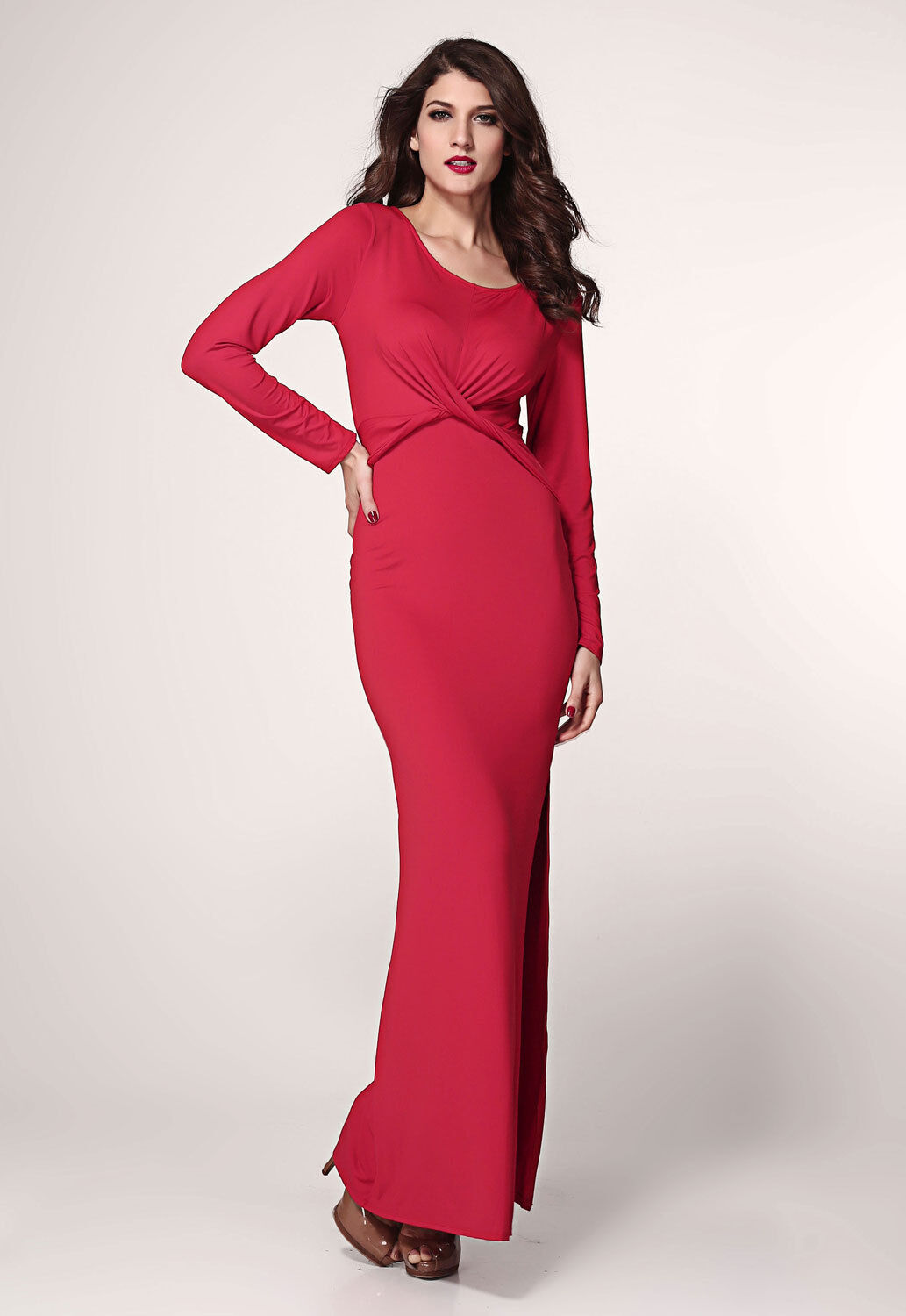 rot Maxi Dress Long Sleeve Twist Detail Slit Christmas Club Wear Cocktail 6180