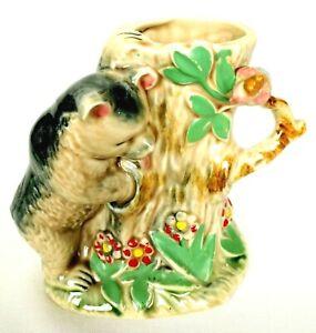 Vintage Ceramic Planter Vase w Bear & Tree Trunk Slump Shafford Japan