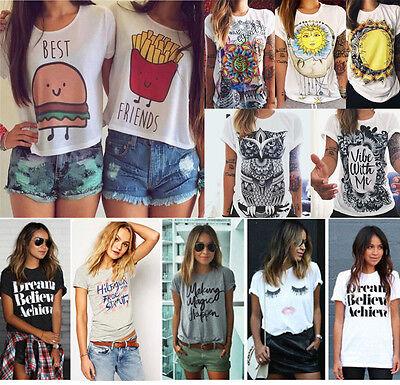 Women Summer Casual Fashion Cotton Blouse Short Sleeve Shirt T-shirt Blouse Top