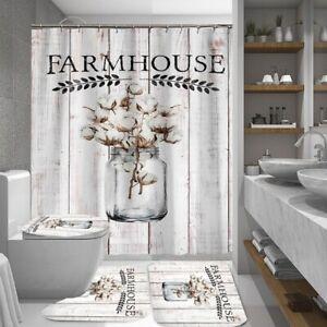 4 3 1pc Hippie Farmhouse Shower Curtain Bath Curtains Rugs Toilet Seat Cover Set Ebay