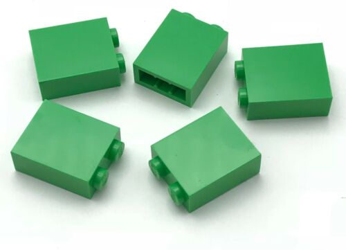 Lego 5 New Bright Green Bricks 1 x 2 x 2 with Inside Stud Holder Parts