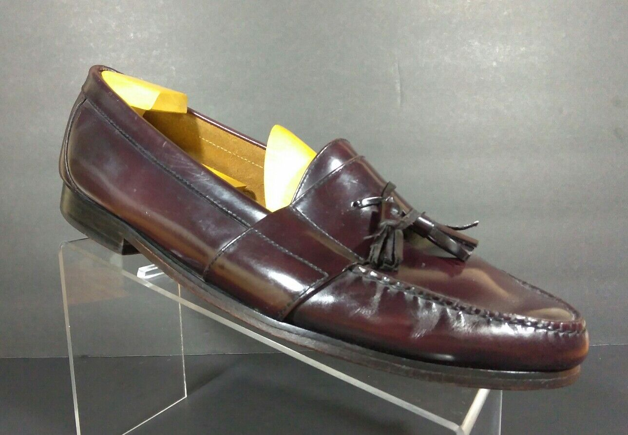 COLE HAAN  Burgundy Pinch Tassel Dress shoes Loafers Mens Size 12 M