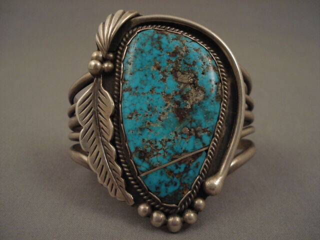 90 GRAM MAMMOTH VINTAGE NAVAJO PERSIAN TURQUOISE SILVER BRACELET