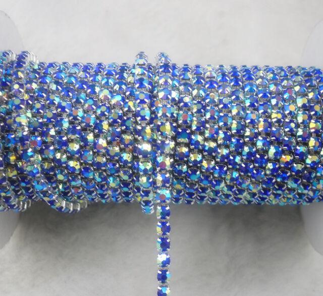 ss12 AB 3mm glass crystal rhinestone compact silver chain trims fashion applique
