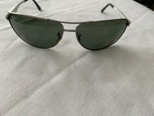 RAY BAN RB3506 0299A 64 13 3P POLARIZED SILVER METAL SUNGLASSES