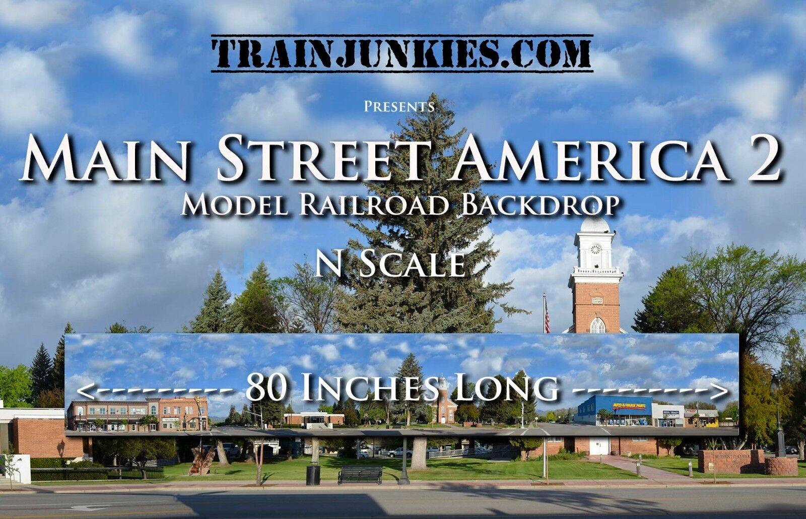 Venta en línea precio bajo descuento Trainjunkies N scale  Main Street America 2  modelo modelo modelo del ferroCocheril telón de fondo 12x80   ¡envío gratis!