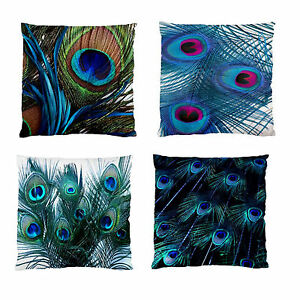 New Peacock Feathers Home Decor Scatter Cushion Case Image 2sides Pillow Cover Ebay