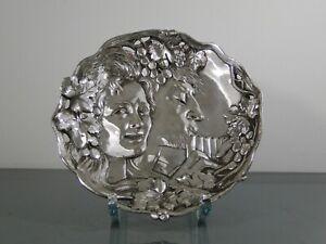 Bild,Frauenschönheit,Bacchus,Pan,Bronze,versilbert,um1900,Jugendstil,Faun