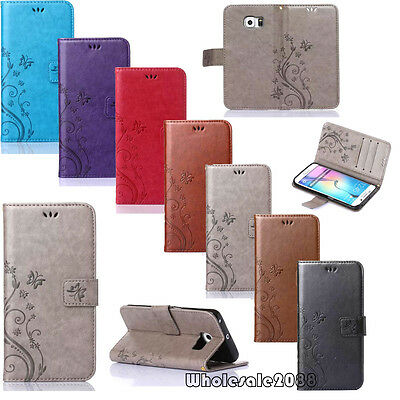 Butterfly Magnetic Flip Cover Stand Wallet Leather Case For Samsung Cellphones