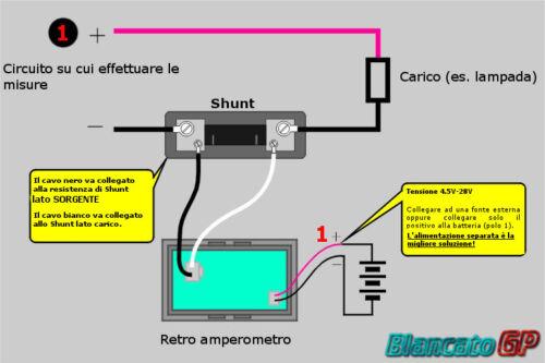 AMPEROMETRO PANNELLO DC 0-50A LED BLU SHUNT auto moto camper digitale solari