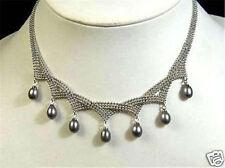 Charming !7-9MM Black Akoya pearl pendant necklace AAA