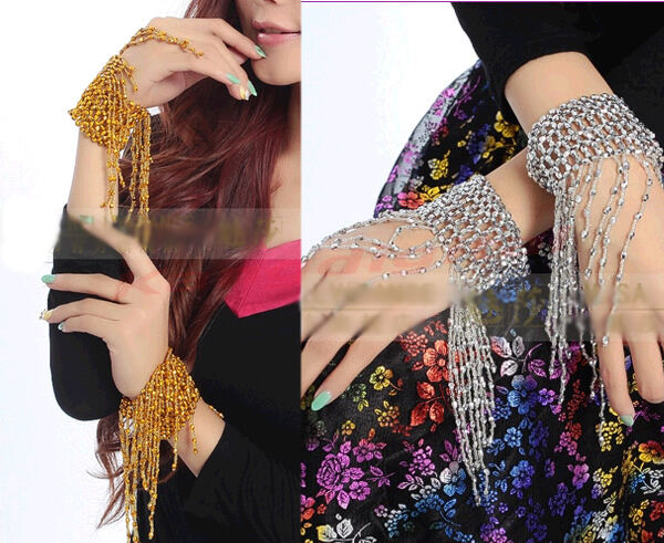 Bangle 1 Pair Belly Dance Armband Beaded Arm Chain Bracelet With Fringe Tassels