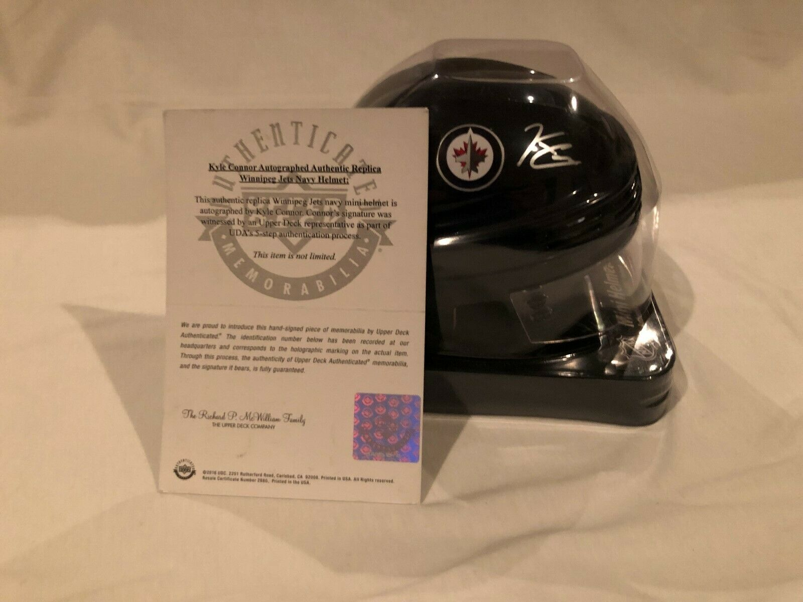 Uda Upper Deck Authenticated Kyle Connor Autographed Winnipeg Jets Mini Helmet Ebay