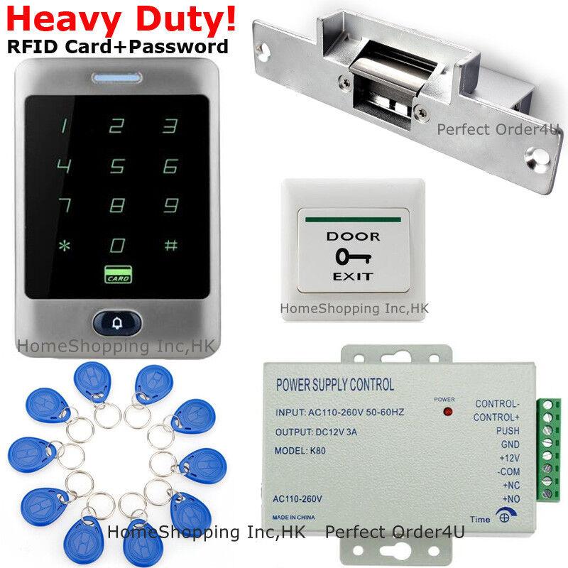 Tarjeta Rfid a prueba de agua y la contraseña de puerta sistema de control de Acceso + Cerradura de puerta huelga