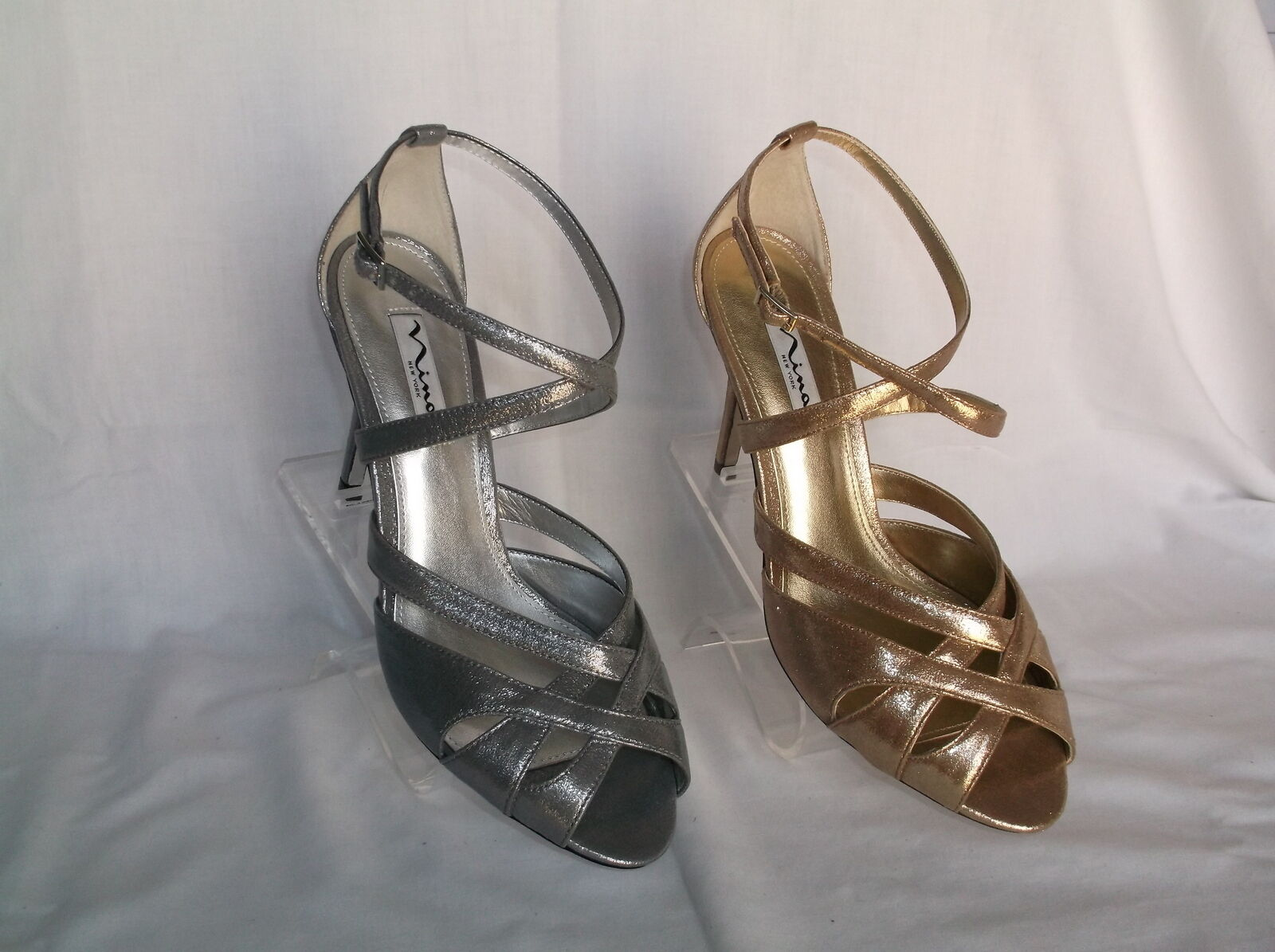 """NINA (MINNA) GOLD OR SILVER 4"""" STRAPPY HEEL NEW IN BOX"""