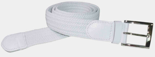 #4001 BRAIDED NYLON STRETCH BELT IN SOLID WHITE AND 6 SIZES TO FIT MOST