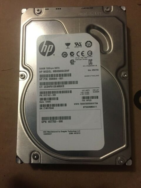 "HP 500GB 3.5"" SATA 7200 RPM Internal HDD 658084-001"