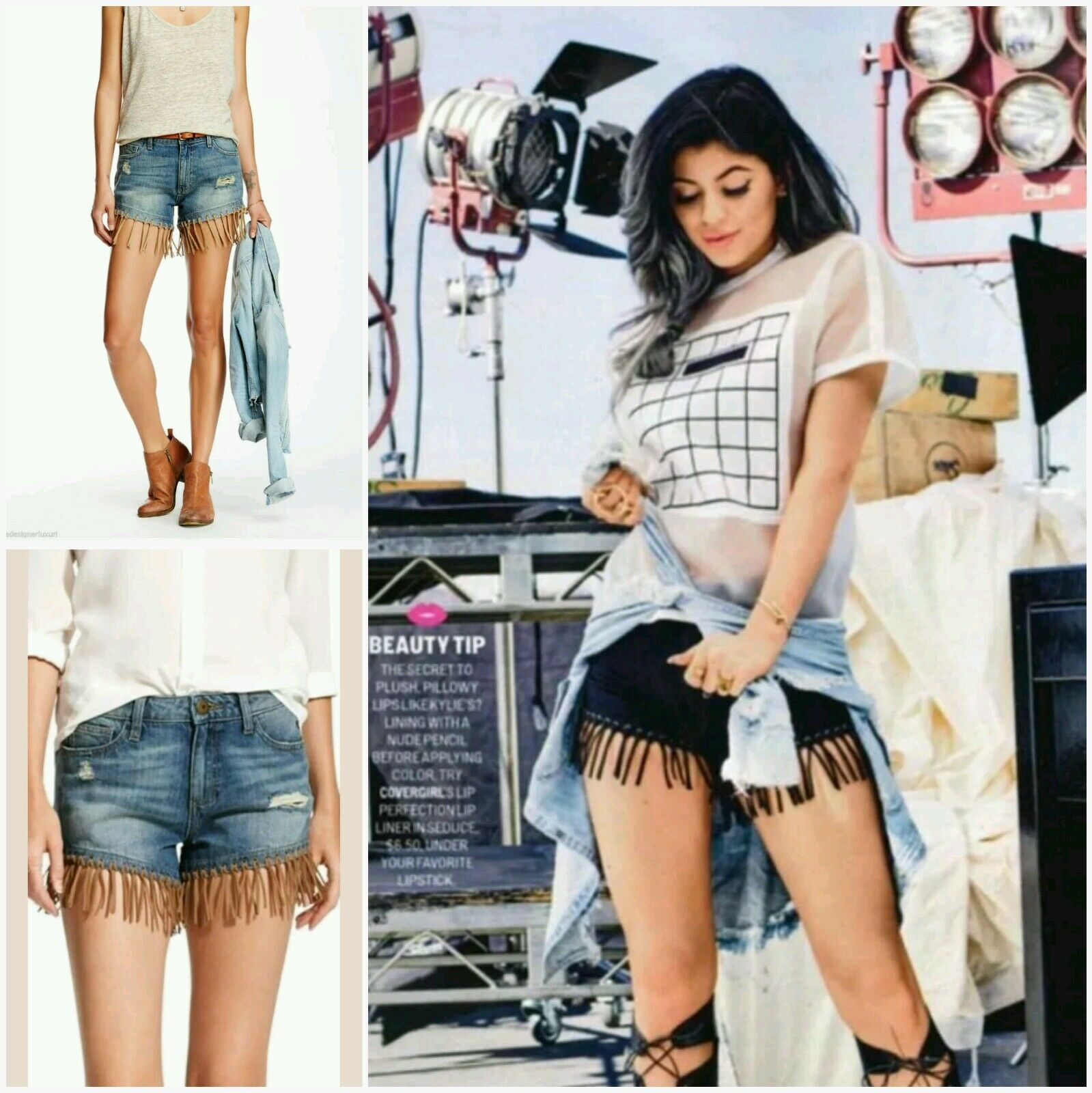 178 DL1961 Seen Kylie Jenner CELEBRITIES Denim Destroyed Fringe Shorts28 M3020