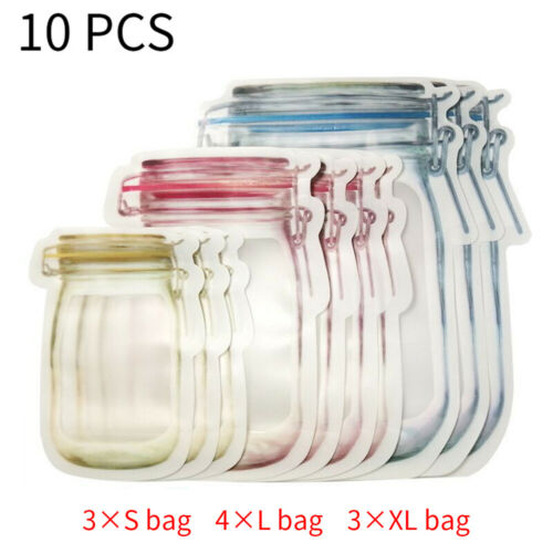 10pcs Mason Jar Zipper Bags Food Storage Snack Sandwich Ziplock Reusable Bag
