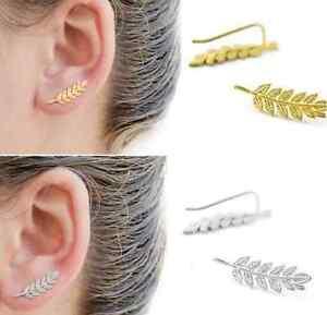 Elegant-Women-Ear-Sweep-Wrap-Silver-Gold-Lady-Climber-Leaf-Ear-Cuff-Earring-New