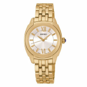 Women's Seiko Gold Plated Stainless Steel Women's Watch SRZ428 New In Box