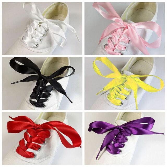 2CM Wide various colors Flat Shoelaces Ribbon Satin Shoe Laces Sport Shoes