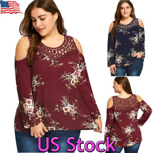 aba5ff58e308a Plus Size Women s Floral Lace Splicing Blouse Long Sleeve Cold ...