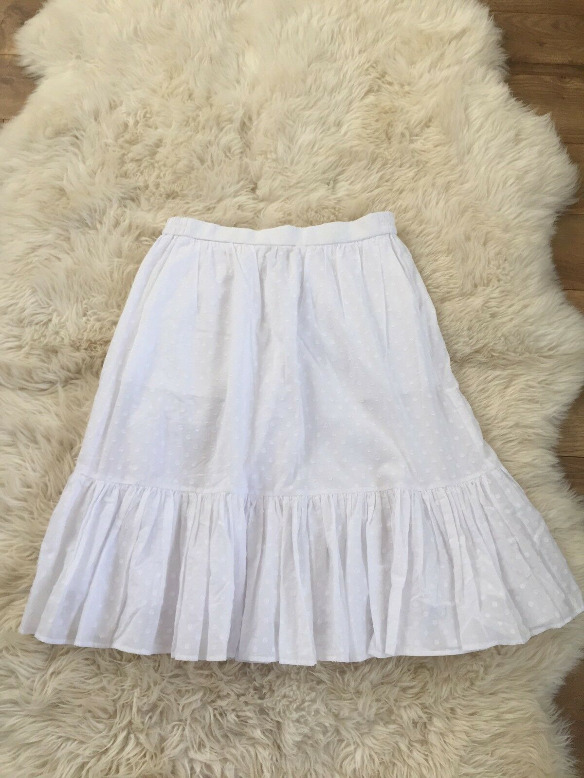 New JCrew Clip-Dot Tiered Skirt Sz 14 16 White G3808 SUMMER 2017