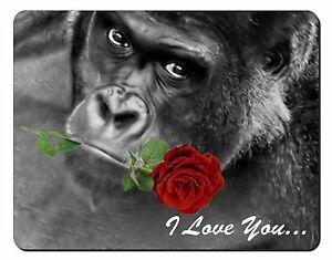 """""""i LOVE YOU"""" GORILLA CON UNA ROSA ROSSA Computer TAPPETINO MOUSE regalo di Natale, am-19rm  </span>"""