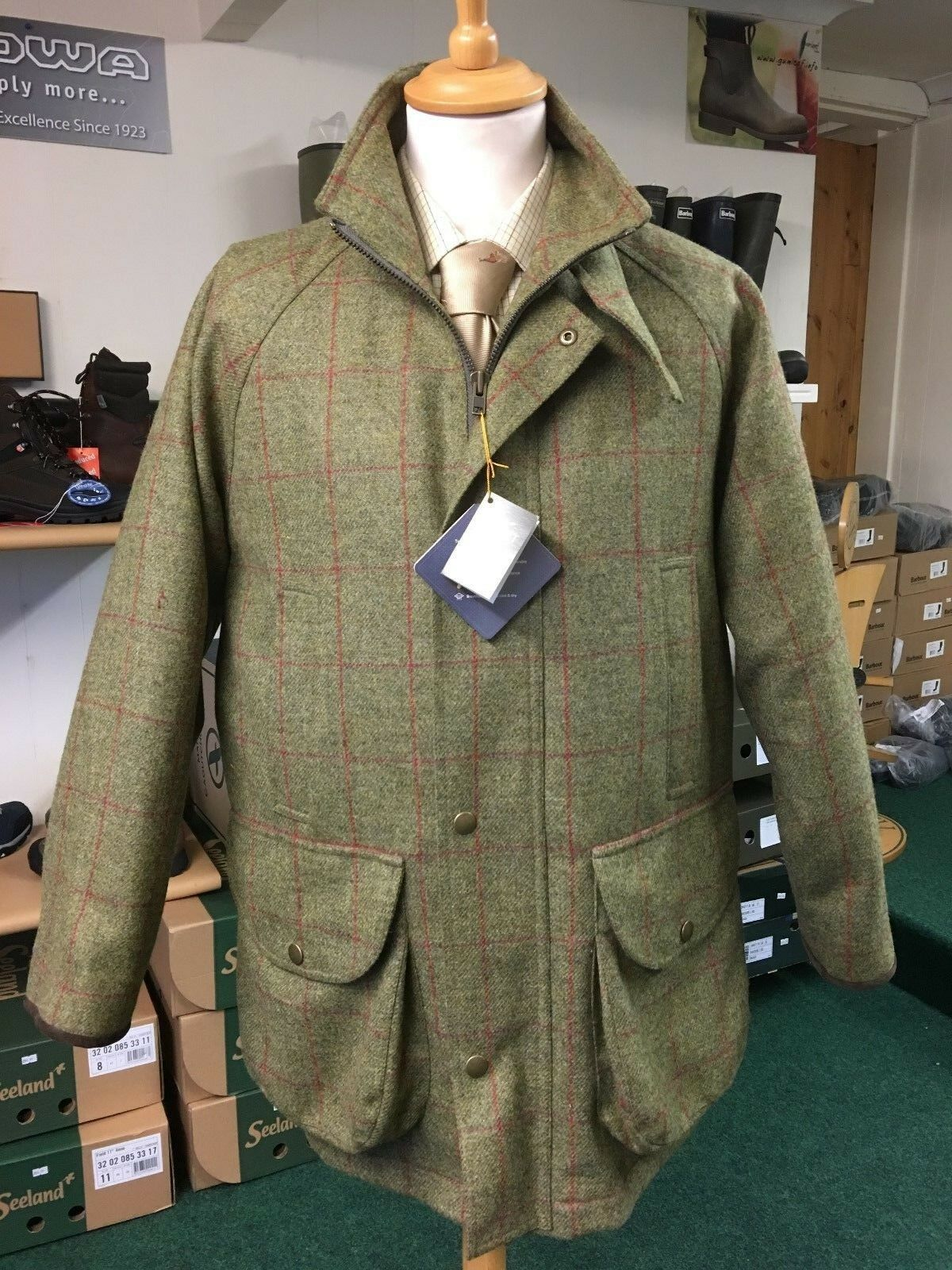 Bonart Tweed Shooting Coat 100% British Wool Waterproof & Breathable Green Sale