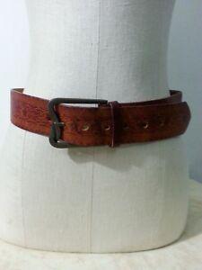 VTG-60-70s-Unisex-Hand-Tooled-Brown-Leather-Belt-Floral-Brass-Buckle-Hippy-32-34