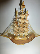 Vintage Hand Made Clipper Ship Model Sea Shell Sail & Coconut Hull ST. KITTS W.I