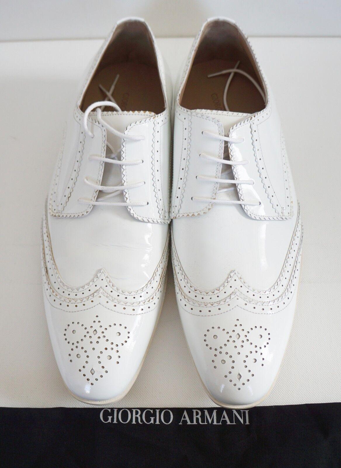 GIORGIO ARMANI Charol Blanco Wing Boda Tip Formal Boda Wing Zapatos IT-45 US-12 dd10e8