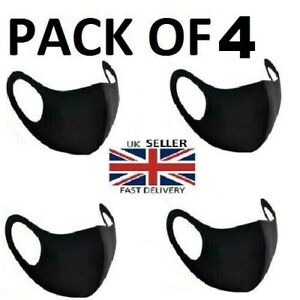 Pack Of 4 Reusable Washable Breathable Face Masks Black Mask Unisex Uk Seller Ebay