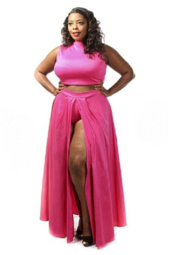 Plus Size Pink Cropped Shirt Front Maxi Skirt Panty Outfit Dress 1X 2X 3X