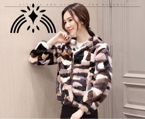 women  real mink fur coat with hood fashion colorful  multi-color jacket