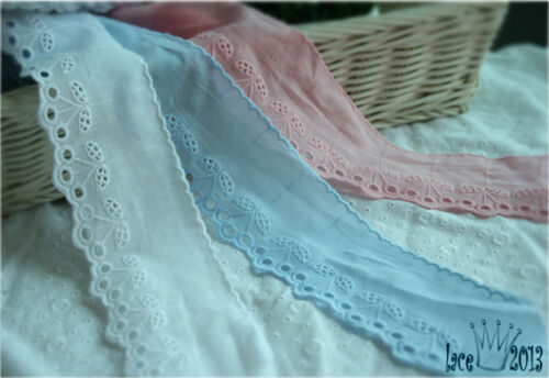 """14Yds Broderie Anglaise cotton eyelet lace trim 2.2/"""" YH1060 laceking2013"""