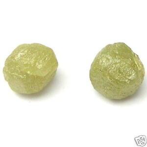 1.5+ Carats 2 GREEN -YELLOW Natural Rough Diamonds PAIR