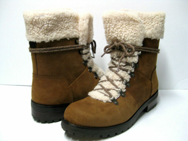 8d3839481be UGG Fraser SHEEPSKIN Shearling LEATHER Combat WINTER Snow HIKER BOOT Womens  size