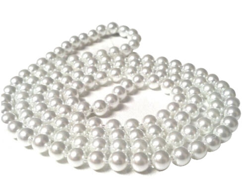 New Ladies Girls Plastic Pearl Bead White Necklace 48 inch Flapper