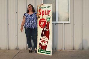 "Rare Large Vintage 1946 Canada Dry Spur 5c Soda Pop 55"" Embossed Metal Sign"